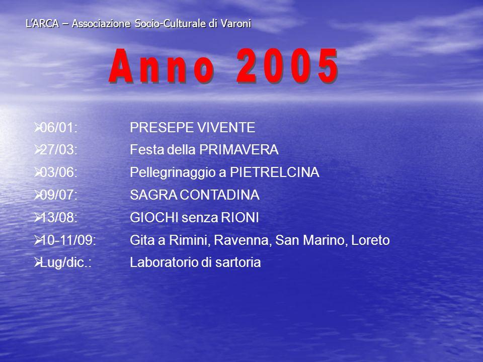 LARCA – Associazione Socio-Culturale di Varoni 06/01: PRESEPE VIVENTE 27/03:Festa della PRIMAVERA 03/06:Pellegrinaggio a PIETRELCINA 09/07: SAGRA CONT