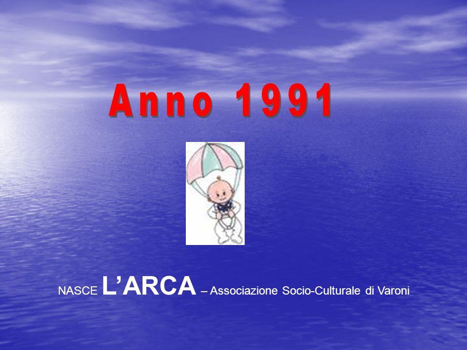 LARCA – Associazione Socio-Culturale di Varoni 01/04:Primo GIORNALINO LARCA news 14/04:Pellegrinaggio a POMPEI e SALA CONSILINA 11/08:GIOCHI IN PIAZZA e CORSA CAMPESTRE 14-16/08:Prima MOSTRA della civiltà contadina, pittura e legno intarsiato 14-15/09: Gita ad ASSISI 21/12: INAUGURAZIONE SEDE