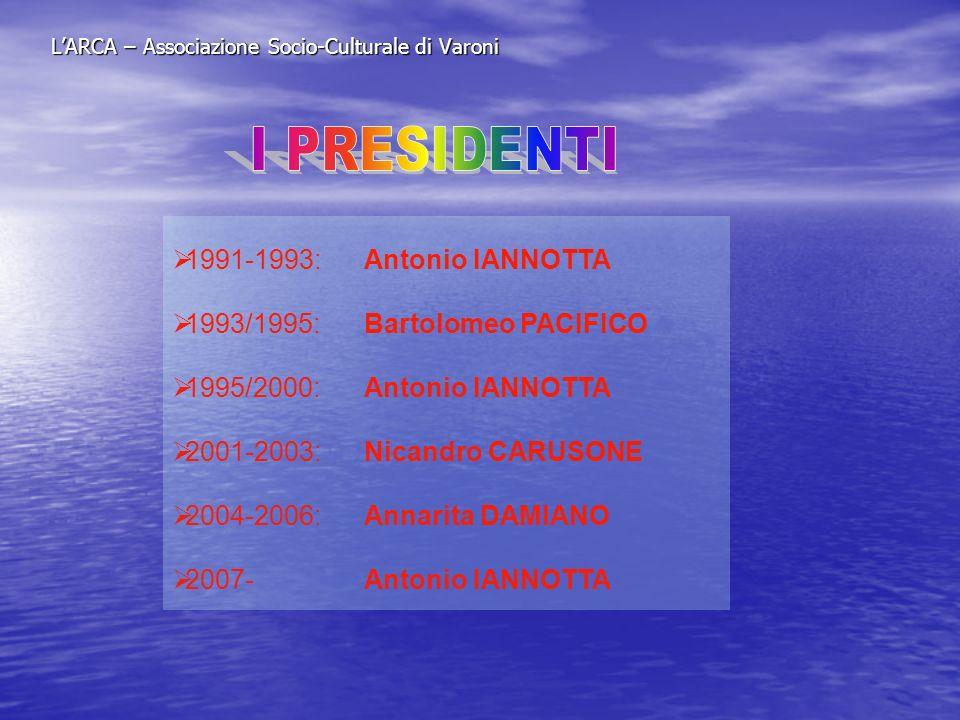 LARCA – Associazione Socio-Culturale di Varoni 1991-1993:Antonio IANNOTTA 1993/1995:Bartolomeo PACIFICO 1995/2000:Antonio IANNOTTA 2001-2003:Nicandro