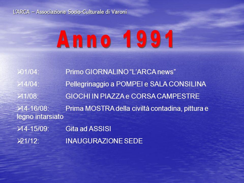 LARCA – Associazione Socio-Culturale di Varoni 01/04:Primo GIORNALINO LARCA news 14/04:Pellegrinaggio a POMPEI e SALA CONSILINA 11/08:GIOCHI IN PIAZZA