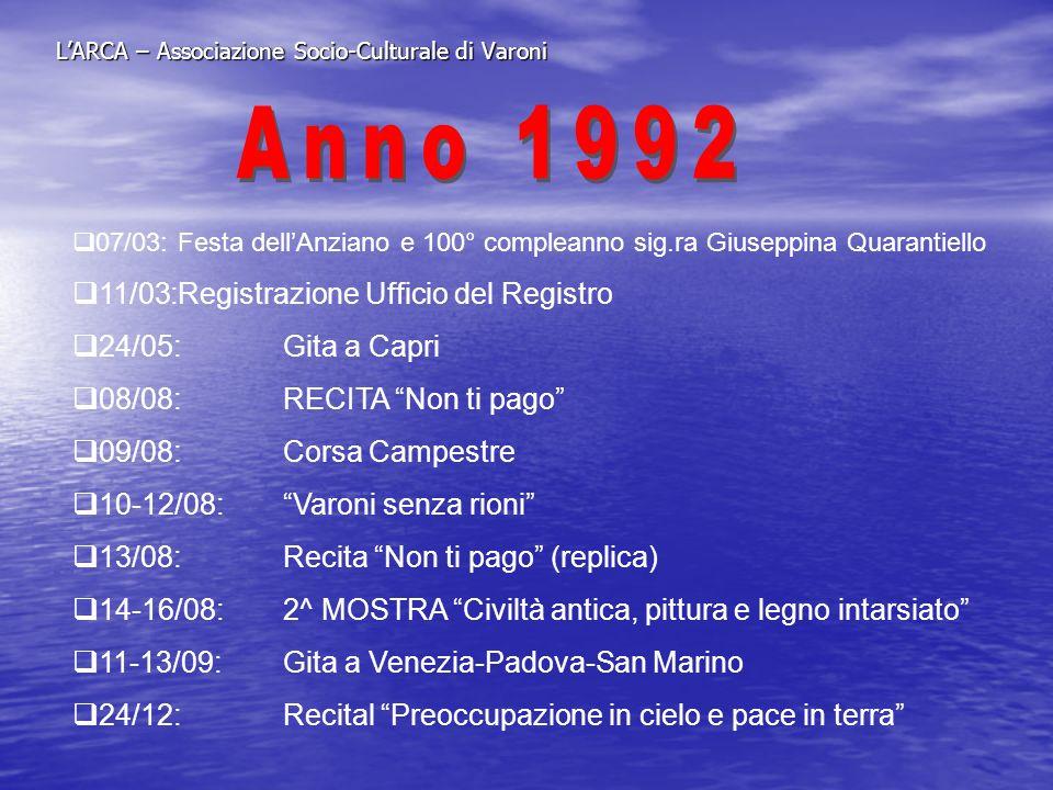 LARCA – Associazione Socio-Culturale di Varoni 07/03:Festa dellAnziano e 100° compleanno sig.ra Giuseppina Quarantiello 11/03:Registrazione Ufficio de