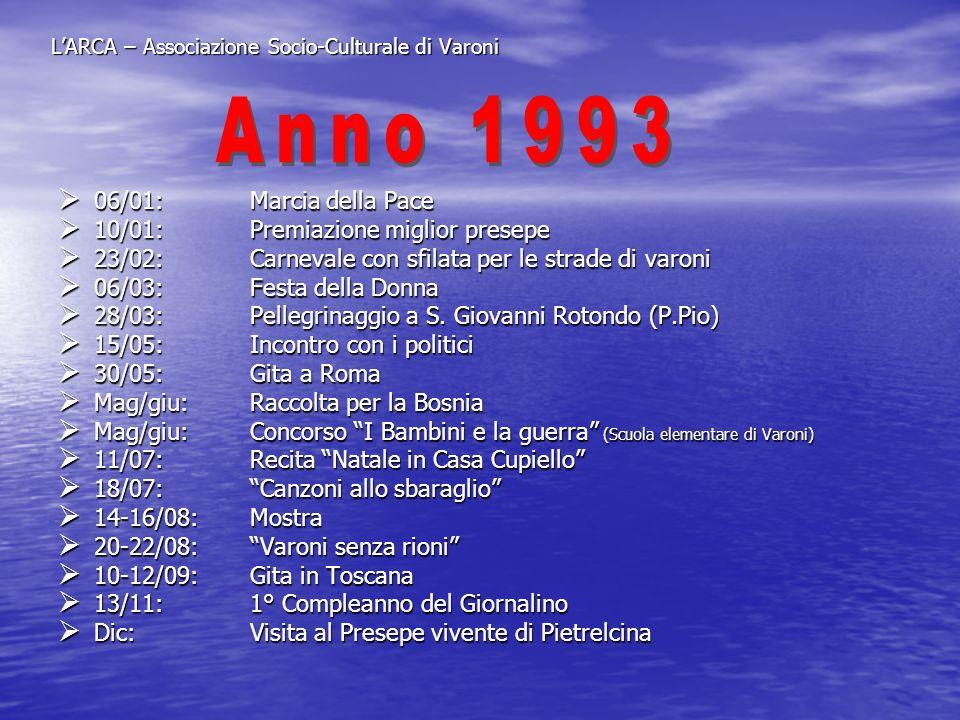 LARCA – Associazione Socio-Culturale di Varoni 06/01:Marcia della Pace 06/01:Marcia della Pace 10/01:Premiazione miglior presepe 10/01:Premiazione mig