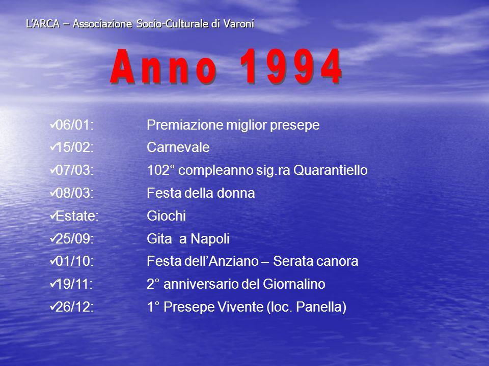 LARCA – Associazione Socio-Culturale di Varoni 06/01: PRESEPE VIVENTE 27/03:Festa della PRIMAVERA 03/06:Pellegrinaggio a PIETRELCINA 09/07: SAGRA CONTADINA 13/08:GIOCHI senza RIONI 10-11/09:Gita a Rimini, Ravenna, San Marino, Loreto Lug/dic.:Laboratorio di sartoria