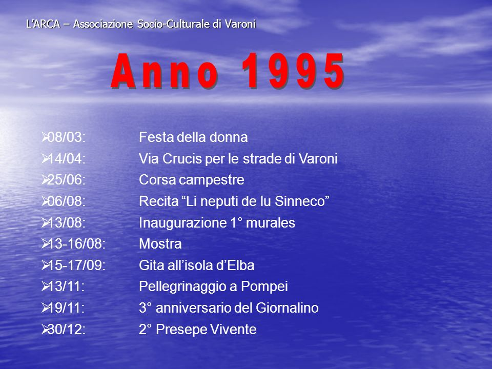 LARCA – Associazione Socio-Culturale di Varoni 08/03:Festa della donna 14/04:Via Crucis per le strade di Varoni 25/06:Corsa campestre 06/08:Recita Li