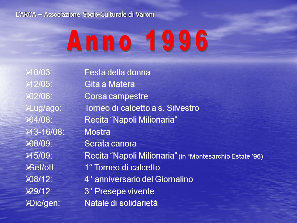 LARCA – Associazione Socio-Culturale di Varoni 10/03:Festa della donna 12/05:Gita a Matera 02/06:Corsa campestre Lug/ago: Torneo di calcetto a s. Silv