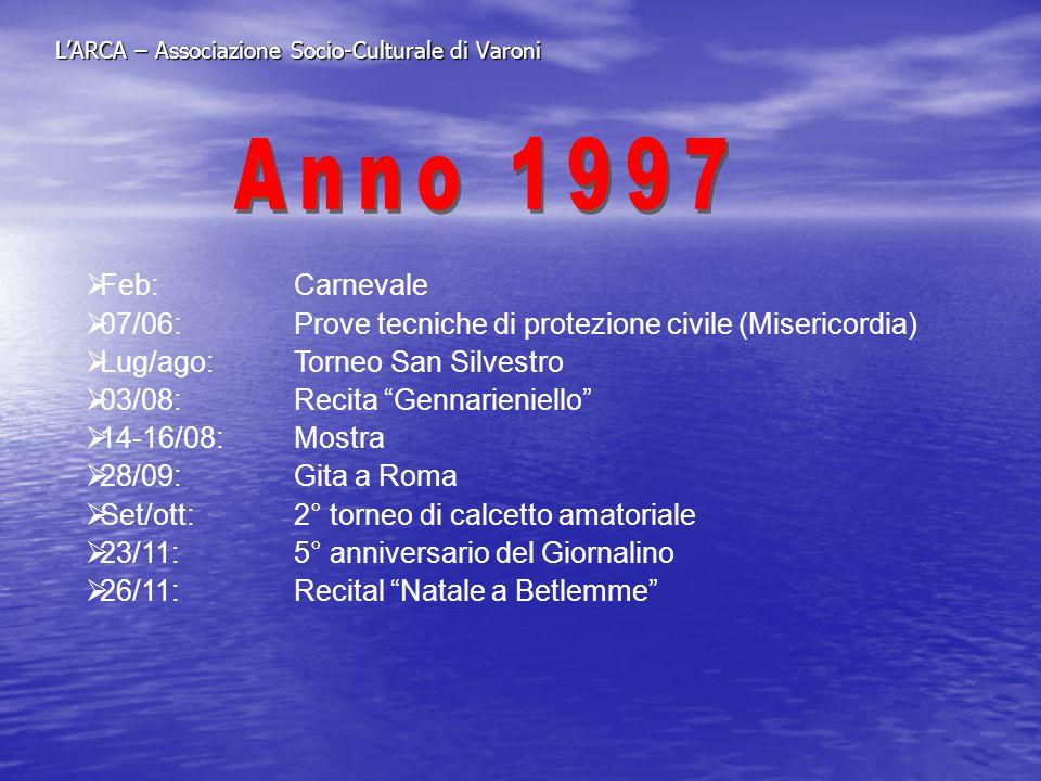 LARCA – Associazione Socio-Culturale di Varoni 03/01:Tombolata 05/01:Serata canora 24/02:Carnevale 25/04:Pellegrinaggio a S.