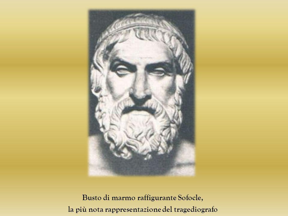 Busto di marmo raffigurante Sofocle, la più nota rappresentazione del tragediografo