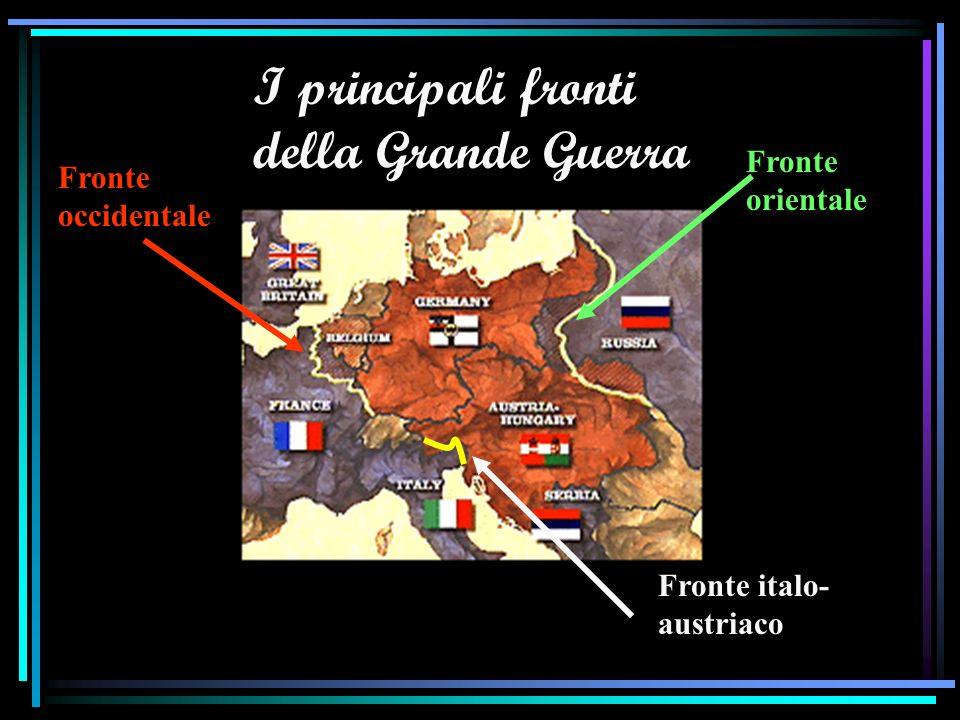 1915 LItalia, che vuole conquistare le zone culturalmente italiane sotto il controllo austriaco, entra in guerra contro gli Imperi Centrali (Trattato