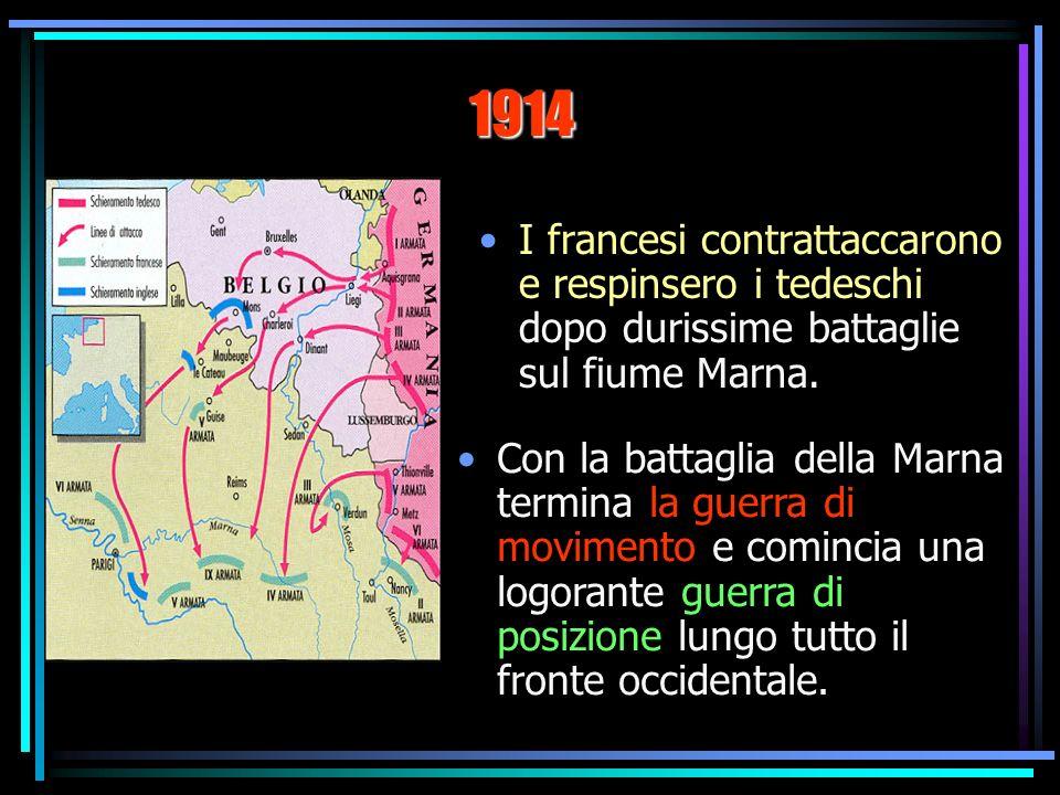 I francesi contrattaccarono e respinsero i tedeschi dopo durissime battaglie sul fiume Marna.