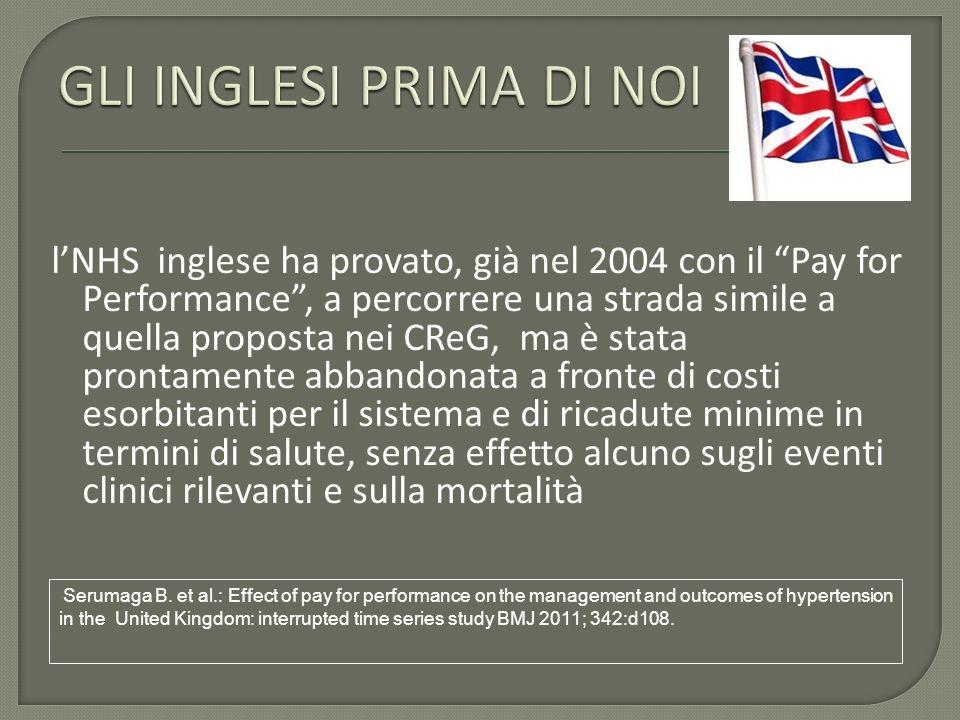 lNHS inglese ha provato, già nel 2004 con il Pay for Performance, a percorrere una strada simile a quella proposta nei CReG, ma è stata prontamente ab