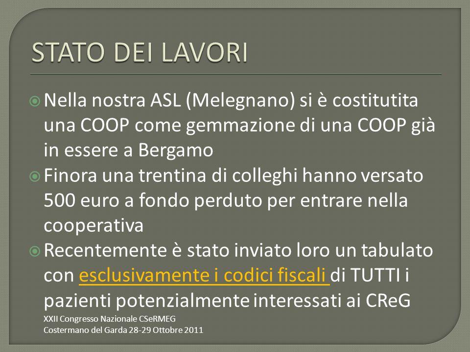 Nella nostra ASL (Melegnano) si è costitutita una COOP come gemmazione di una COOP già in essere a Bergamo Finora una trentina di colleghi hanno versa