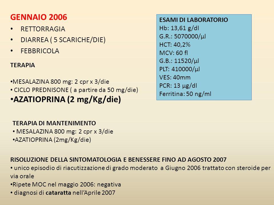 GENNAIO 2006 RETTORRAGIA DIARREA ( 5 SCARICHE/DIE) FEBBRICOLA ESAMI DI LABORATORIO Hb: 13,61 g/dl G.R.: 5070000/µl HCT: 40,2% MCV: 60 fl G.B.: 11520/µ