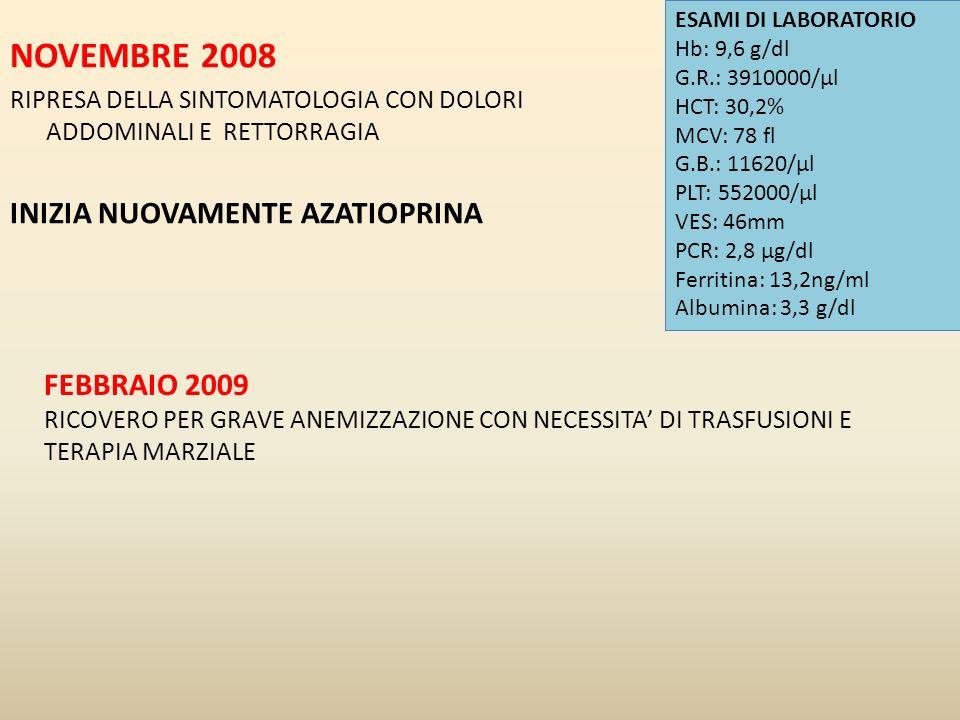 NOVEMBRE 2008 RIPRESA DELLA SINTOMATOLOGIA CON DOLORI ADDOMINALI E RETTORRAGIA INIZIA NUOVAMENTE AZATIOPRINA ESAMI DI LABORATORIO Hb: 9,6 g/dl G.R.: 3