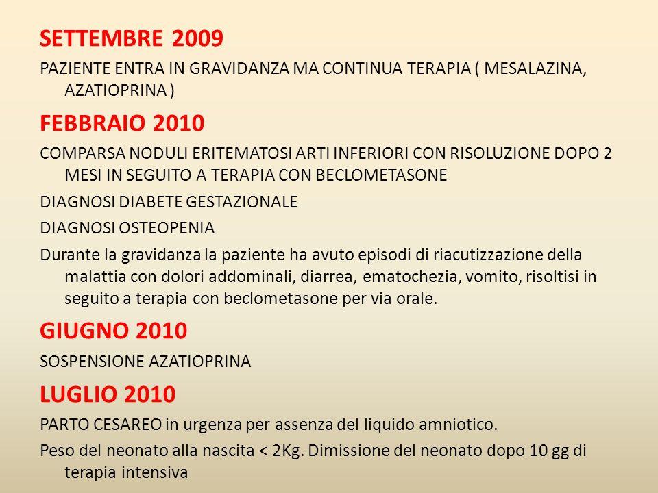 SETTEMBRE 2009 PAZIENTE ENTRA IN GRAVIDANZA MA CONTINUA TERAPIA ( MESALAZINA, AZATIOPRINA ) FEBBRAIO 2010 COMPARSA NODULI ERITEMATOSI ARTI INFERIORI C