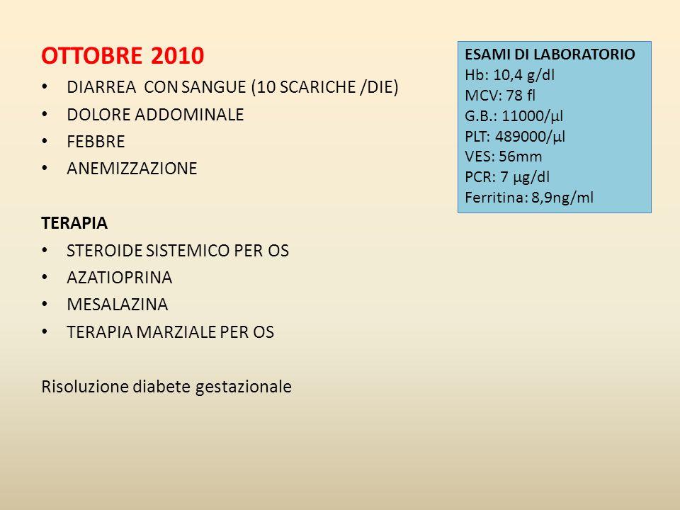 OTTOBRE 2010 DIARREA CON SANGUE (10 SCARICHE /DIE) DOLORE ADDOMINALE FEBBRE ANEMIZZAZIONE TERAPIA STEROIDE SISTEMICO PER OS AZATIOPRINA MESALAZINA TER