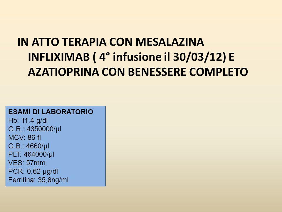 IN ATTO TERAPIA CON MESALAZINA INFLIXIMAB ( 4° infusione il 30/03/12) E AZATIOPRINA CON BENESSERE COMPLETO ESAMI DI LABORATORIO Hb: 11,4 g/dl G.R.: 43