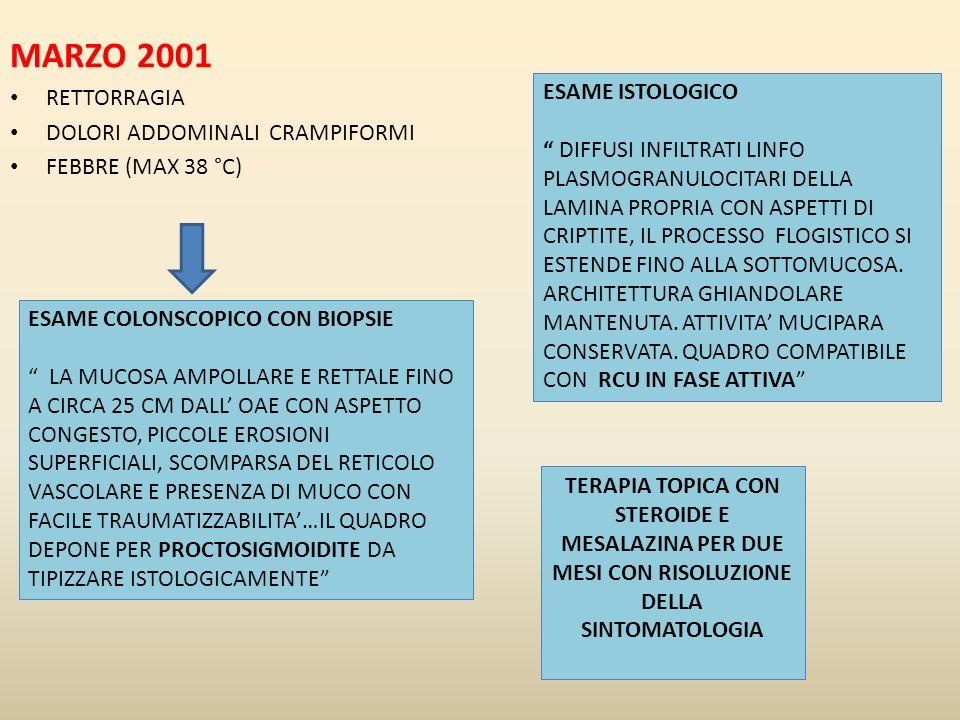 MARZO 2001 RETTORRAGIA DOLORI ADDOMINALI CRAMPIFORMI FEBBRE (MAX 38 °C) ESAME COLONSCOPICO CON BIOPSIE LA MUCOSA AMPOLLARE E RETTALE FINO A CIRCA 25 C