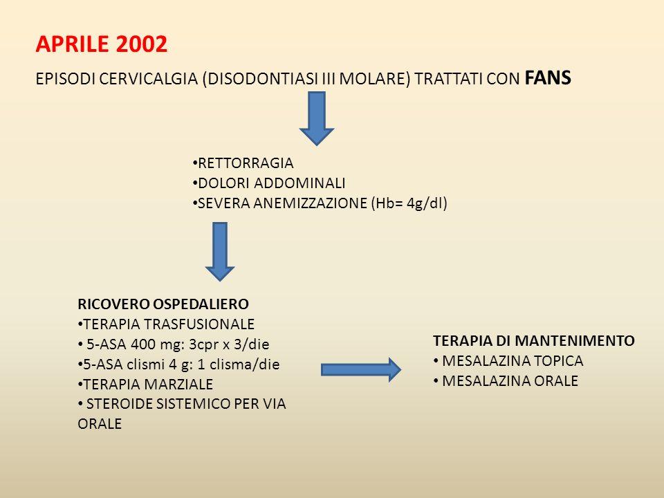 APRILE 2002 EPISODI CERVICALGIA (DISODONTIASI III MOLARE) TRATTATI CON FANS RETTORRAGIA DOLORI ADDOMINALI SEVERA ANEMIZZAZIONE (Hb= 4g/dl) RICOVERO OS