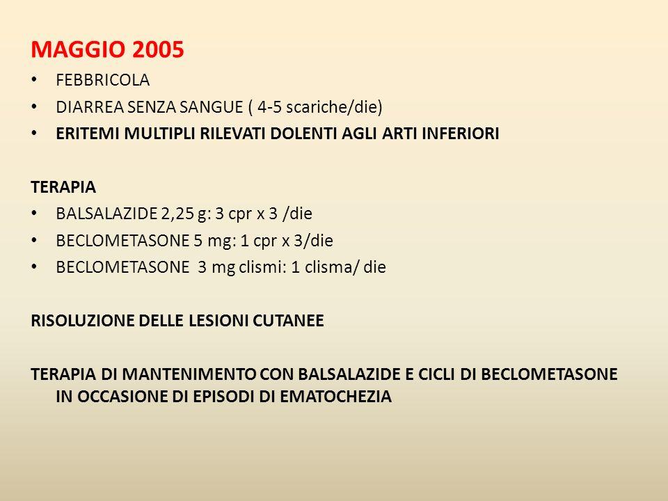 MAGGIO 2005 FEBBRICOLA DIARREA SENZA SANGUE ( 4-5 scariche/die) ERITEMI MULTIPLI RILEVATI DOLENTI AGLI ARTI INFERIORI TERAPIA BALSALAZIDE 2,25 g: 3 cp