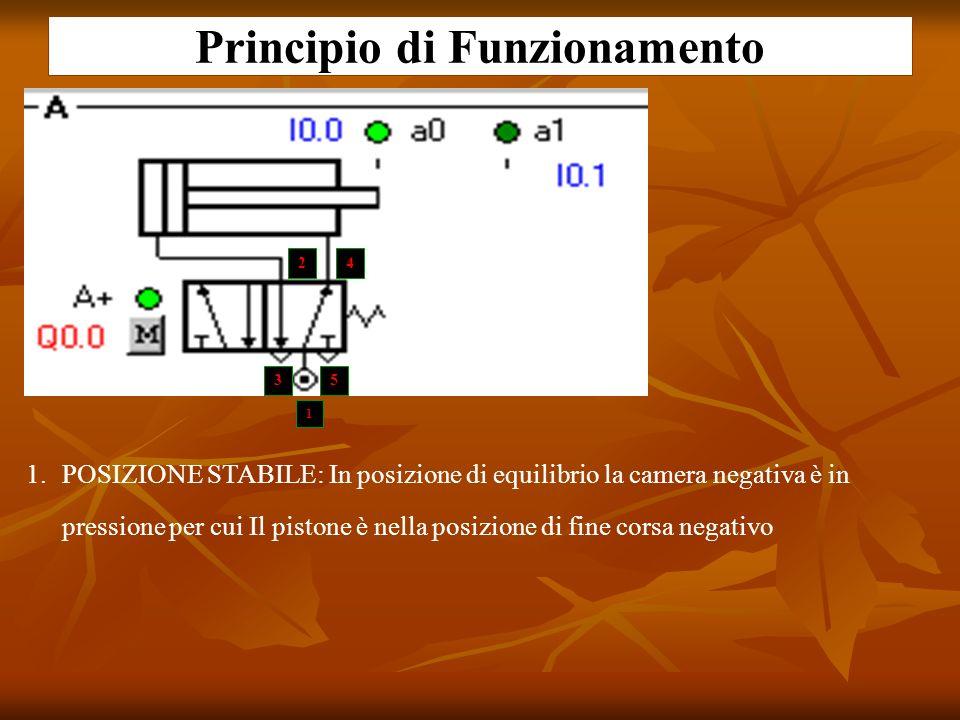 Principio di Funzionamento 1.POSIZIONE STABILE: In posizione di equilibrio la camera negativa è in pressione per cui Il pistone è nella posizione di f