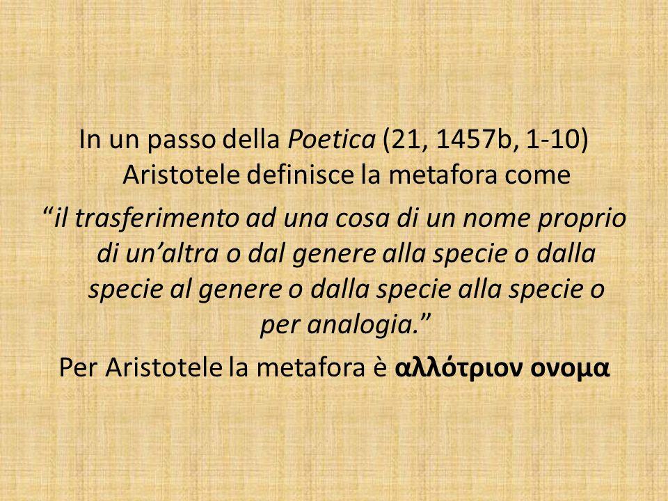 In un passo della Poetica (21, 1457b, 1-10) Aristotele definisce la metafora come il trasferimento ad una cosa di un nome proprio di unaltra o dal gen