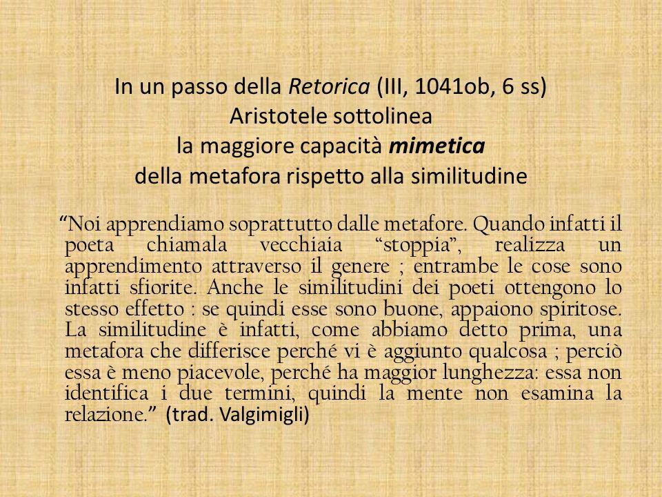 In un passo della Retorica (III, 1041ob, 6 ss) Aristotele sottolinea la maggiore capacità mimetica della metafora rispetto alla similitudine Noi appre