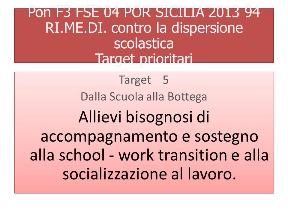 Pon F3 FSE 04 POR SICILIA 2013 94 RI.ME.DI. contro la dispersione scolastica Target 5 Dalla Scuola alla Bottega Allievi bisognosi di accompagnamento e
