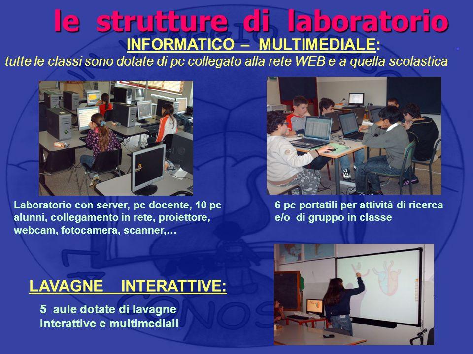 le strutture di laboratorio le strutture di laboratorio INFORMATICO – MULTIMEDIALE:. tutte le classi sono dotate di pc collegato alla rete WEB e a que