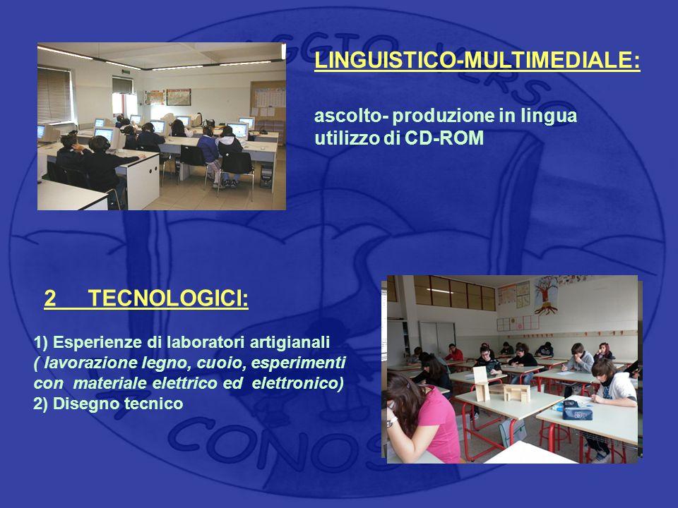 LINGUISTICO-MULTIMEDIALE: ascolto- produzione in lingua utilizzo di CD-ROM 2 TECNOLOGICI: 1) Esperienze di laboratori artigianali ( lavorazione legno,