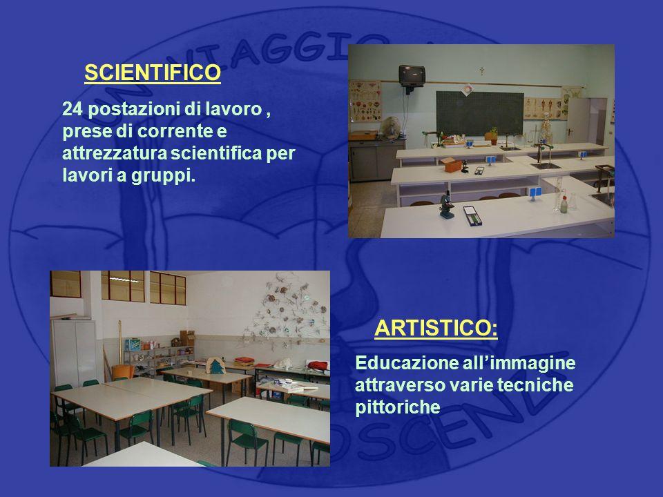 ARTISTICO: Educazione allimmagine attraverso varie tecniche pittoriche SCIENTIFICO 24 postazioni di lavoro, prese di corrente e attrezzatura scientifi