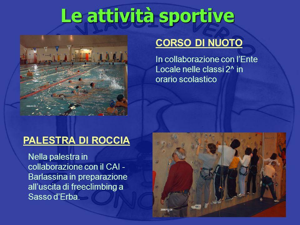 Nella palestra in collaborazione con il CAI - Barlassina in preparazione alluscita di freeclimbing a Sasso dErba. Le attività sportive CORSO DI NUOTO