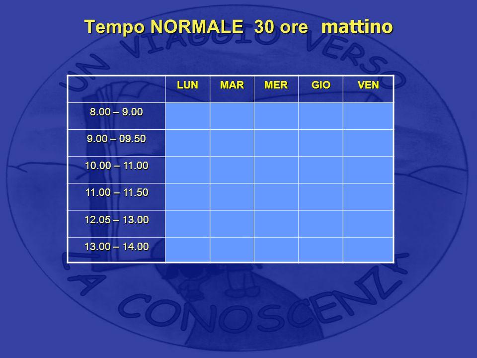 Tempo NORMALE 30 ore mattino LUNMARMERGIOVEN 8.00 – 9.00 9.00 – 09.50 10.00 – 11.00 11.00 – 11.50 12.05 – 13.00 13.00 – 14.00