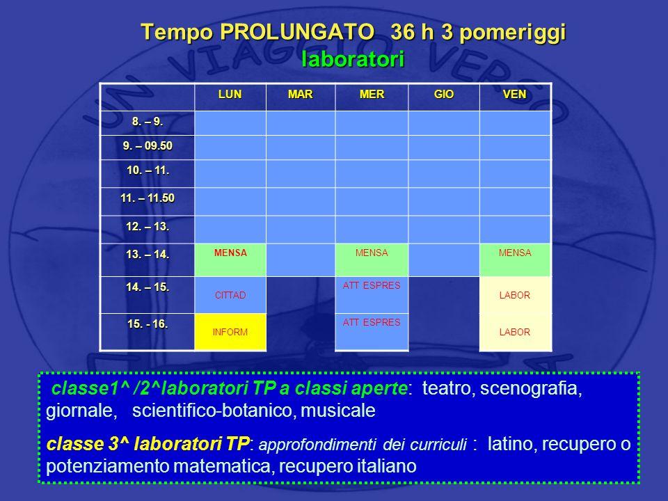 Tempo PROLUNGATO 36 h 3 pomeriggi laboratori LUNMARMERGIOVEN 8. – 9. 9. – 09.50 10. – 11. 11. – 11.50 12. – 13. 13. – 14. MENSA 14. – 15. CITTAD ATT E