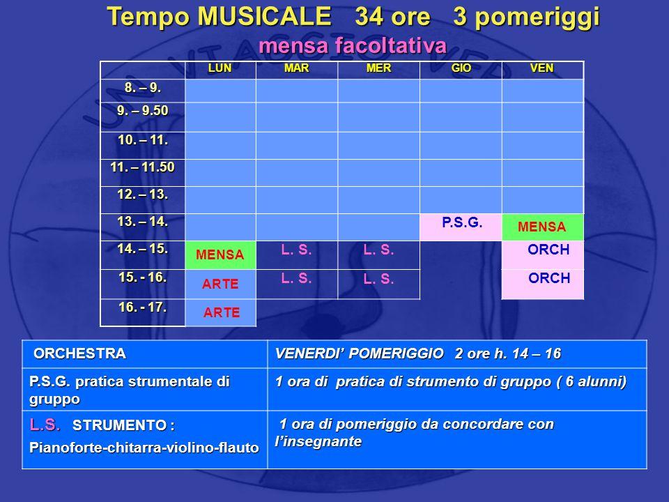 Tempo MUSICALE 34 ore 3 pomeriggi mensa facoltativa LUNMARMERGIOVEN 8. – 9. 9. – 9.50 10. – 11. 11. – 11.50 12. – 13. 13. – 14. P.S.G. MENSA 14. – 15.