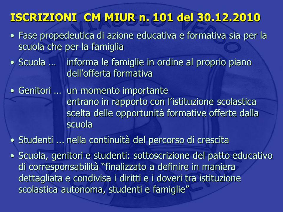 ISCRIZIONI CM MIUR n. 101 del 30.12.2010 Fase propedeutica di azione educativa e formativa sia per la scuola che per la famigliaFase propedeutica di a