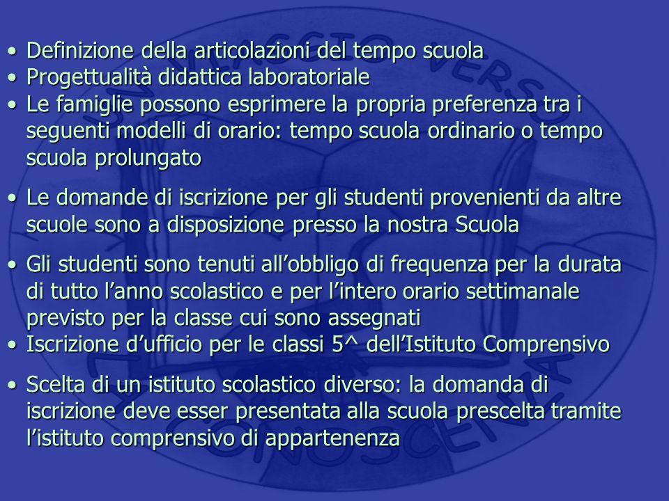 Definizione della articolazioni del tempo scuolaDefinizione della articolazioni del tempo scuola Progettualità didattica laboratorialeProgettualità di