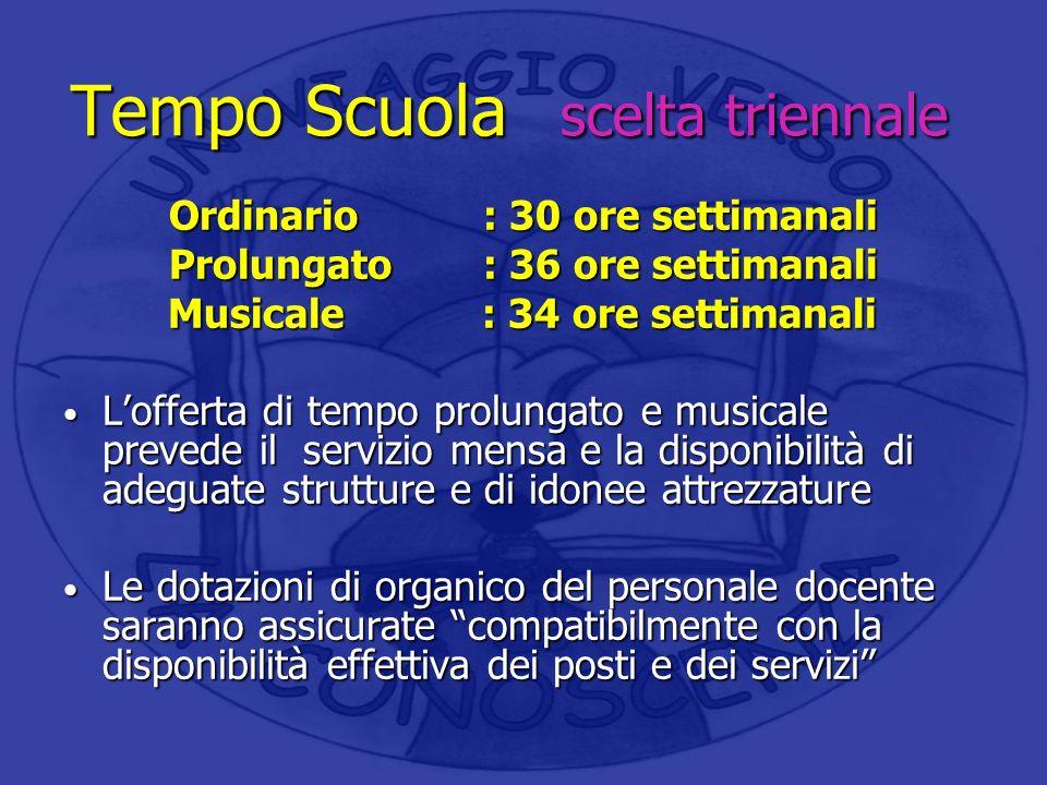 Tempo Scuola scelta triennale Ordinario : 30 ore settimanali Prolungato: 36 ore settimanali Musicale: 34 ore settimanali Musicale: 34 ore settimanali
