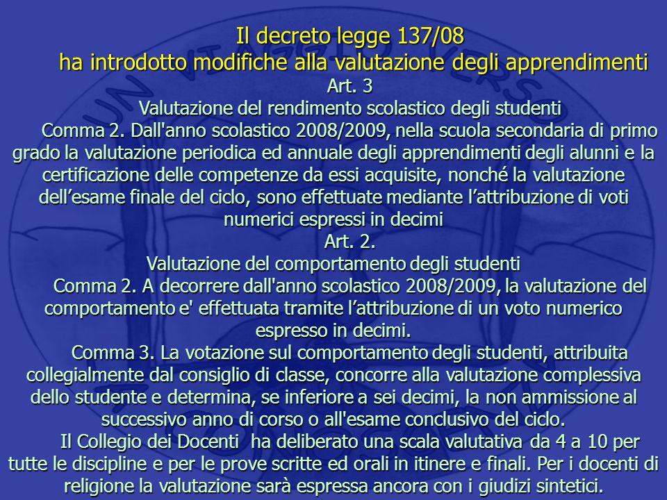 Il decreto legge 137/08 ha introdotto modifiche alla valutazione degli apprendimenti ha introdotto modifiche alla valutazione degli apprendimenti Art.