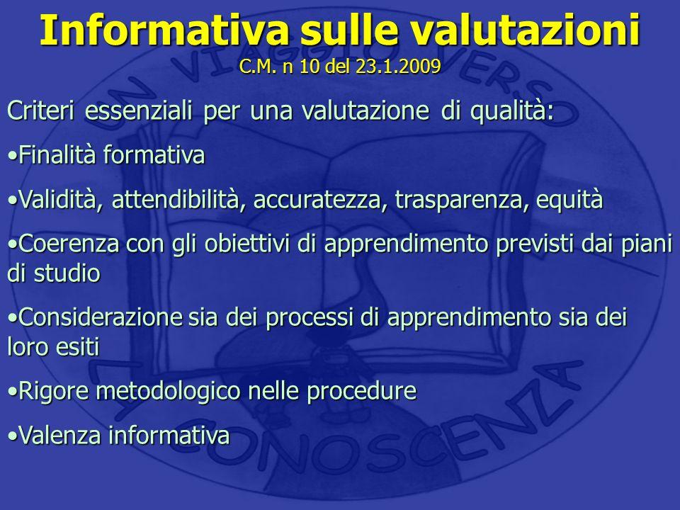 Informativa sulle valutazioni C.M. n 10 del 23.1.2009 Criteri essenziali per una valutazione di qualità: Finalità formativaFinalità formativa Validità