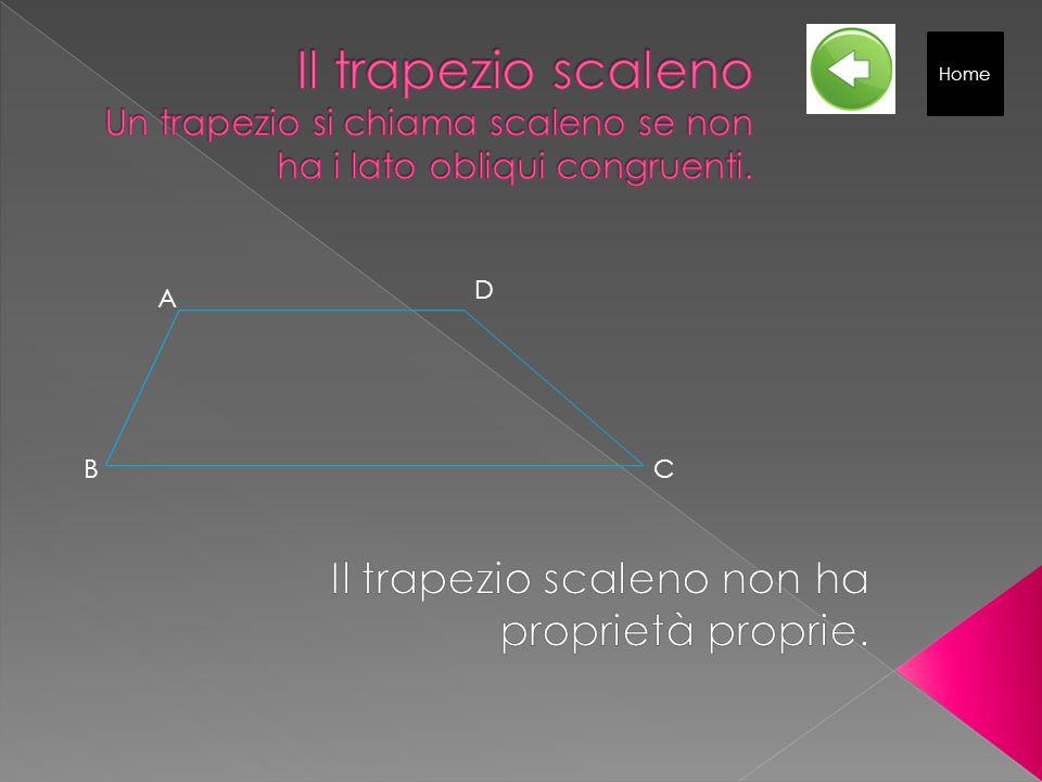 Proprietà: 1 Le diagonali sono congruenti. 2 Le proiezioni dei lati obliqui sulla base maggiore sono congruenti. 3 Gli angoli adiacenti a ciascuna bas