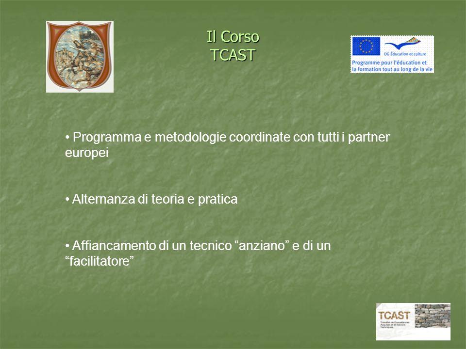 Il Corso TCAST Programma e metodologie coordinate con tutti i partner europei Alternanza di teoria e pratica Affiancamento di un tecnico anziano e di un facilitatore