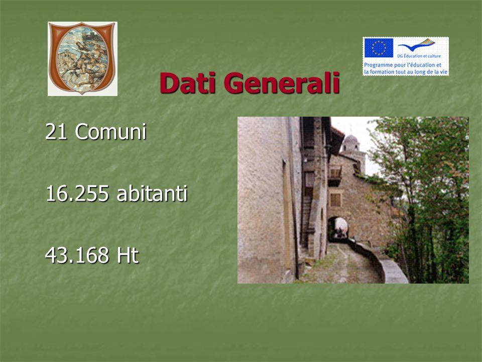 Dati Generali 21 Comuni 16.255 abitanti 43.168 Ht
