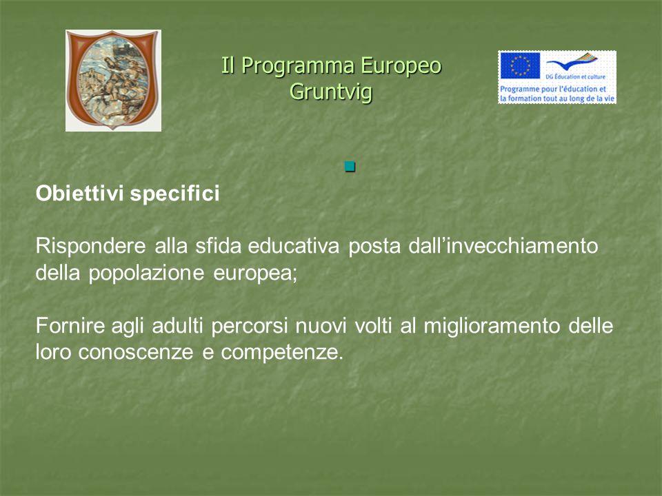 Il Programma Europeo Gruntvig Obiettivi specifici Rispondere alla sfida educativa posta dallinvecchiamento della popolazione europea; Fornire agli adulti percorsi nuovi volti al miglioramento delle loro conoscenze e competenze.