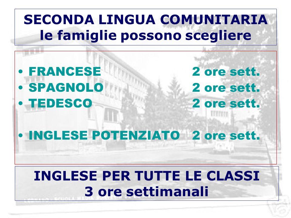 SECONDA LINGUA COMUNITARIA le famiglie possono scegliere FRANCESE2 ore sett.