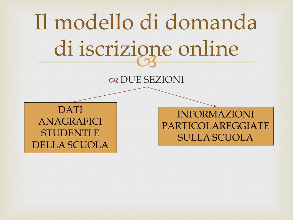 DUE SEZIONI Il modello di domanda di iscrizione online DATI ANAGRAFICI STUDENTI E DELLA SCUOLA INFORMAZIONI PARTICOLAREGGIATE SULLA SCUOLA