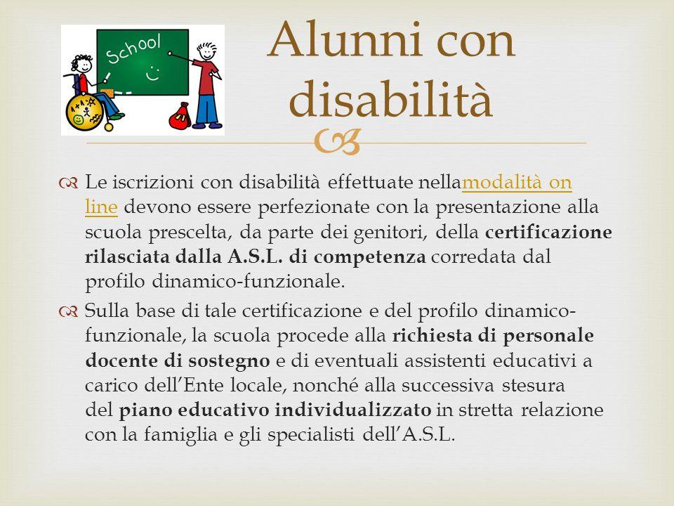 Le iscrizioni con disabilità effettuate nellamodalità on line devono essere perfezionate con la presentazione alla scuola prescelta, da parte dei geni