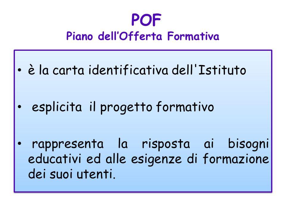 POF Piano dellOfferta Formativa è la carta identificativa dell Istituto esplicita il progetto formativo rappresenta la risposta ai bisogni educativi ed alle esigenze di formazione dei suoi utenti.