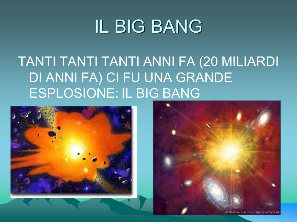 IL BIG BANG TANTI TANTI TANTI ANNI FA (20 MILIARDI DI ANNI FA) CI FU UNA GRANDE ESPLOSIONE: IL BIG BANG