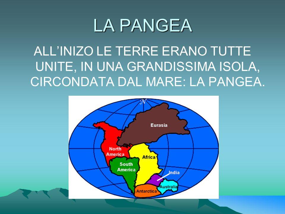 LA PANGEA ALLINIZO LE TERRE ERANO TUTTE UNITE, IN UNA GRANDISSIMA ISOLA, CIRCONDATA DAL MARE: LA PANGEA.