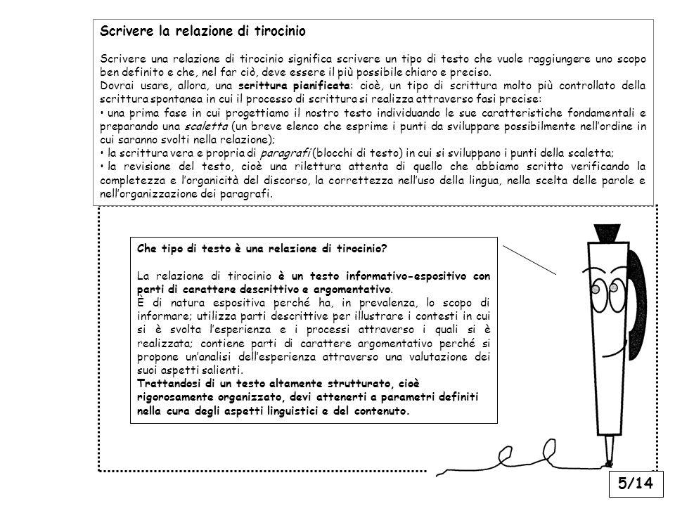 5/14 Scrivere la relazione di tirocinio Scrivere una relazione di tirocinio significa scrivere un tipo di testo che vuole raggiungere uno scopo ben definito e che, nel far ciò, deve essere il più possibile chiaro e preciso.
